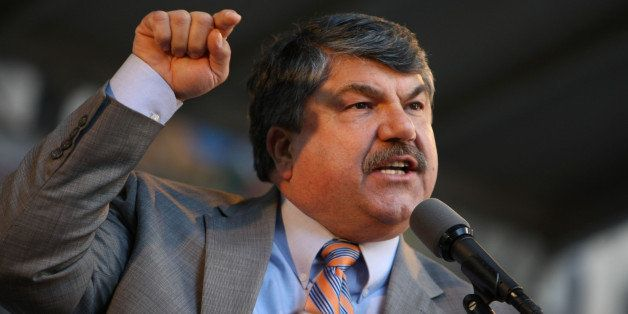 Richard Trumka, president of the AFL-CIO, speaks at a rally against big banks in New York, U.S., on Thursday, April 29, 2010.