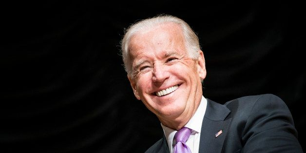 US Vice President Joe Biden smiles during a farewell ceremony during a farewell ceremony for Homeland Security Secretary Jane