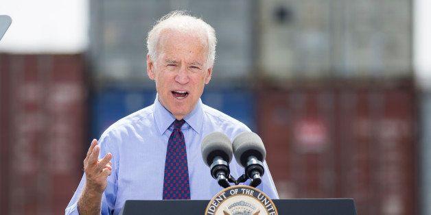 CHARLESTON, SC - SEPTEMBER 16: U.S. Vice President Joe Biden speaks during a visit to Columbus Container Terminal on Septembe