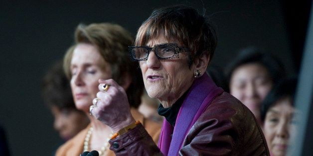 UNITED STATES - FEB 28: U.S. House Minority Leader Nancy Pelosi, D-CA., and Rep. Rosa DeLauro, D-CT., during a news conferenc