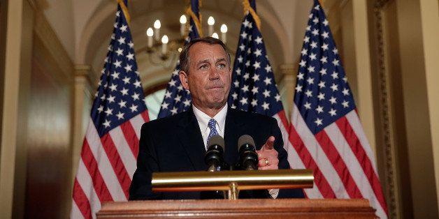 WASHINGTON, DC - OCTOBER 08:  U.S. Speaker of the House John Boehner (R-OH) responds to U.S. President Barack Obama's comment