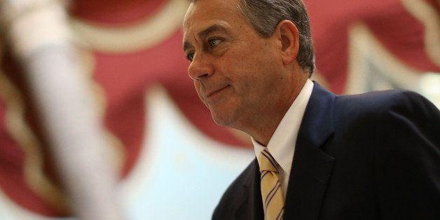 WASHINGTON, DC - OCTOBER 09:  House Speaker John Boehner (R-OH) walks through Statuary Hall at the U.S. Capitol, October 9, 2