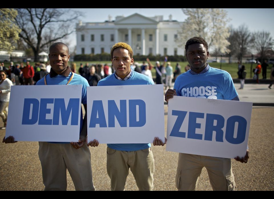 Global Zero supporters outside the White House on April 5, 2013, the 4th anniversary of President Obama's historic Prague spe