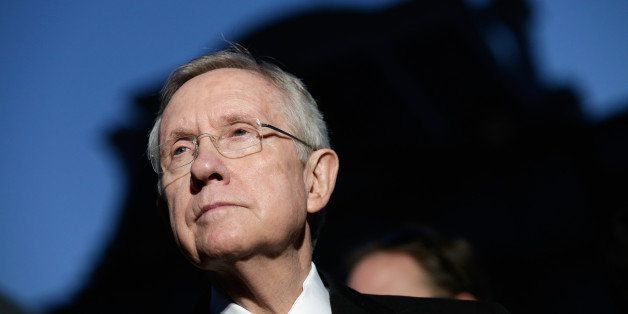 WASHINGTON, DC - OCTOBER 02:  U.S. Senate Majority Leader Sen. Harry Reid (D-NV) speaks with members of the press after a mee