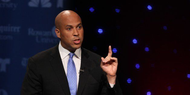 GLASSBORO, NJ - OCTOBER 9: U.S. Senate candidate Cory Booker speaks during his second televised debate with Steve Lonegan at