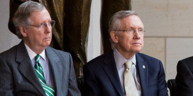 WASHINGTON, DC - JUNE 19: (L-R) Senate Minority Leader Mitch McConnell (R-KY), Senate Majority Leader Harry Reid (D-NV), Spea