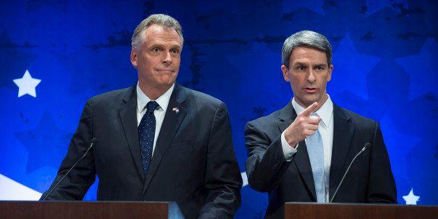 MCLEAN, VA -- SEPTEMBER 25: Virginia gubernatorial candidates Democrat Terry McAuliff, former DNC Chair, and Republican Ken C
