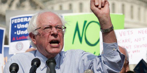 WASHINGTON, DC - OCTOBER 04:  Sen. Bernie Sanders (I-VT) speaks during a protest held by furloughed federal workers outside t