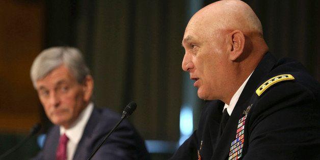 WASHINGTON, DC - APRIL 23: Chief of Staff of the U.S. Army Gen. Raymond Odierno (R), and Secretary of the Army John McHugh sp