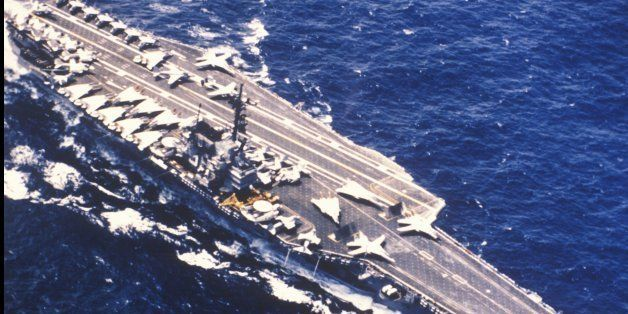 Aerial View of the USS Forrestal Aircraft Carrier on the Ocean (Photo by Visions of America/UIG via Getty Images)