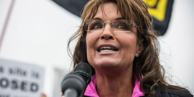 WASHINGTON, DC - OCTOBER 13: Former Alaskan Governor Sarah Palin speaks at a rally supported by military veterans, Tea Party