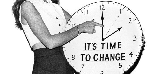 A reminder to change clocks back from day light savings time in the fall, Brooklyn, New York circa 1964. (Photo by Underwood