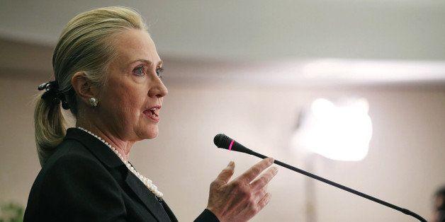 WASHINGTON, DC - OCTOBER 12: U.S. Secretary Hillary Clinton speaks about North Africa at the Center for Strategic & Internati