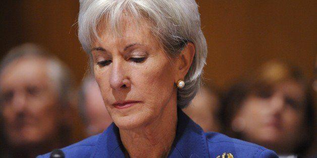 US Health and Human Services Secretary Kathleen Sebelius pauses as she testifies before the Senate Finance Committee on healt