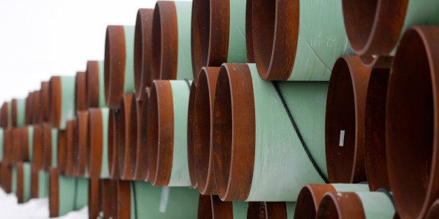 A depot used to store pipes for Transcanada Corp's planned Keystone XL oil pipeline is seen in Gascoyne, North Dakota, Januar