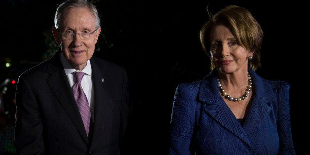 Senate Majority Leader Harry Reid, a Democrat from Nevada, left, and House Minority Leader Nancy Pelosi, a Democrat from Cali