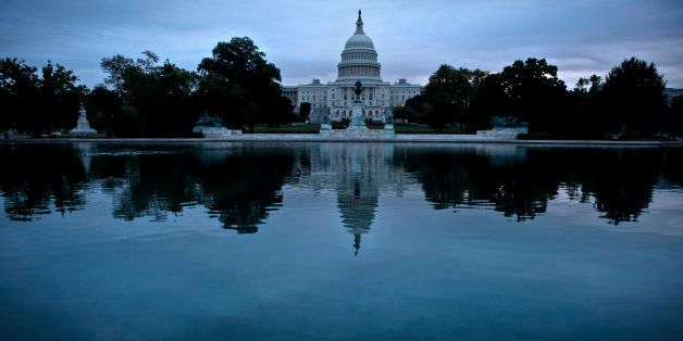 A view of Capitol Hill October 16, 2013 in Washington, DC.  US senators scrambled together an eleventh hour compromise Wednes