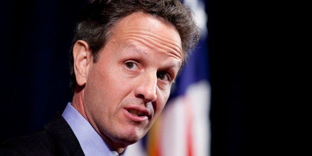 Timothy Geithner, U.S. treasury secretary, arrives to speak at the Consumer Financial Protection Bureau (CFPB) in Washington,
