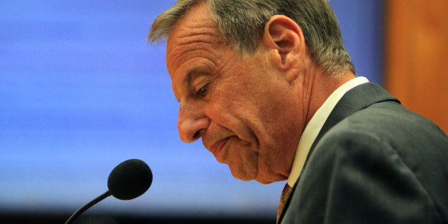 SAN DIEGO, CA - AUGUST 23: San Diego Mayor Bob Filner announces his mayoral resignation to the city council on August 23, 201