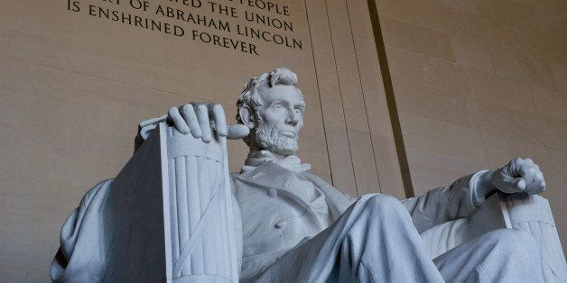 The statue of the 16th president of the US Abraham Lincoln is seen at the Lincoln Memorial on November 19, 2013 in Washington