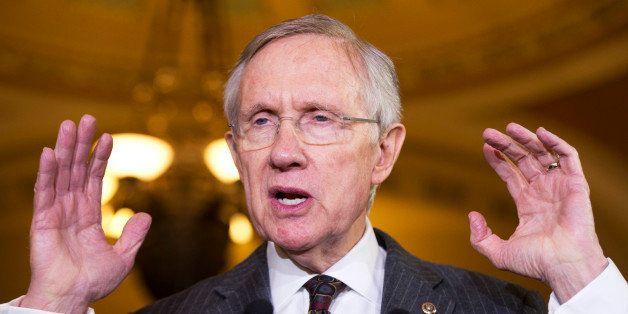 UNITED STATES - NOVEMBER 13: Senate Majority Leader Harry Reid, D-Nev., speaks to the media after the senate luncheons in the