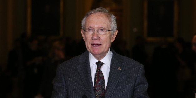 WASHINGTON, DC - NOVEMBER 13:  Senate Majority Leader Harry Reid (D-NV), speaks to reporters after attending the weekly Democ