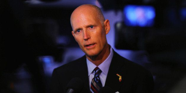 MIAMI, FL - JANUARY 10:  Florida Governor Rick Scott speaks to the media after he toured the manufacturing facility at Beckma