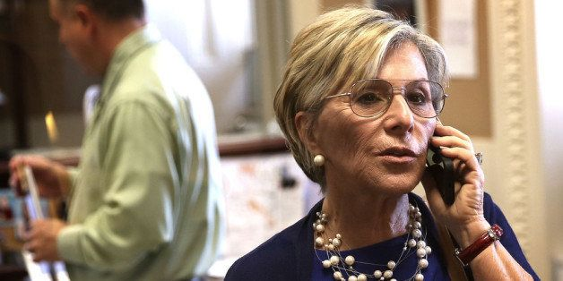 WASHINGTON, DC - JUNE 12:  U.S. Sen. Barbara Boxer (D-CA) talks on her cellular phone prior to a news conference June 12, 201