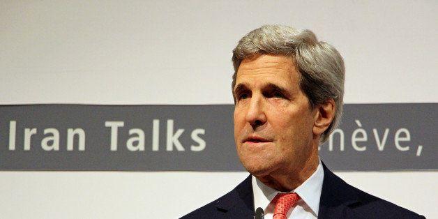 GENEVA, SWITZERLAND - NOVEMBER 24: U.S. Secretary of State John Kerry makes a press release annoucing the agreement reached o