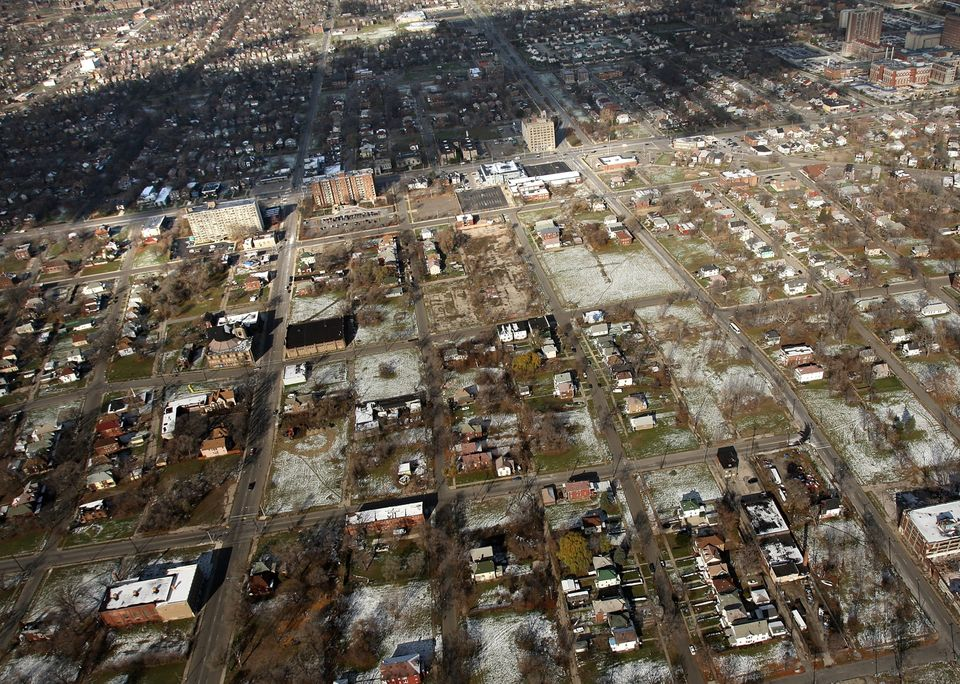 A neighborhood stands with numerous empty lots on November 21, 2008 in Detroit, Michigan. As car and truck sales have plummet