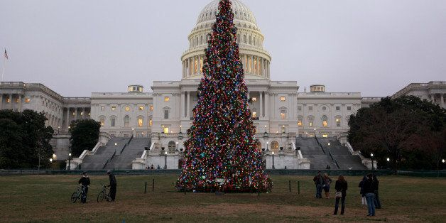 WASHINGTON DC, USA - DECEMBER 9 :  The U.S. Capitol Christmas Tree is seen outside the West Front of the United States Capito