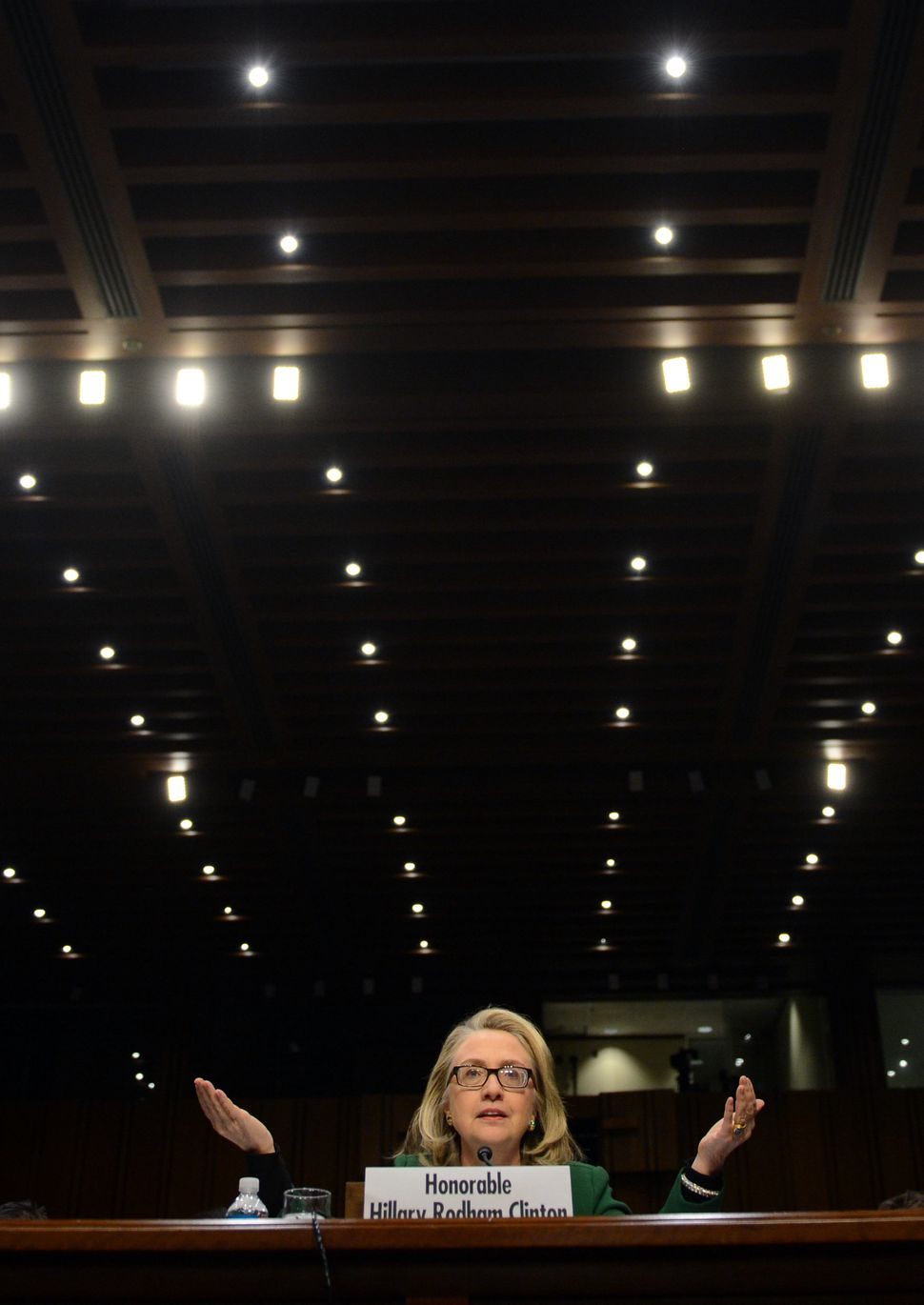 Former U.S. Secretary of State Hillary Clinton testifies before the Senate Foreign Relations Committee at a hearing to find o