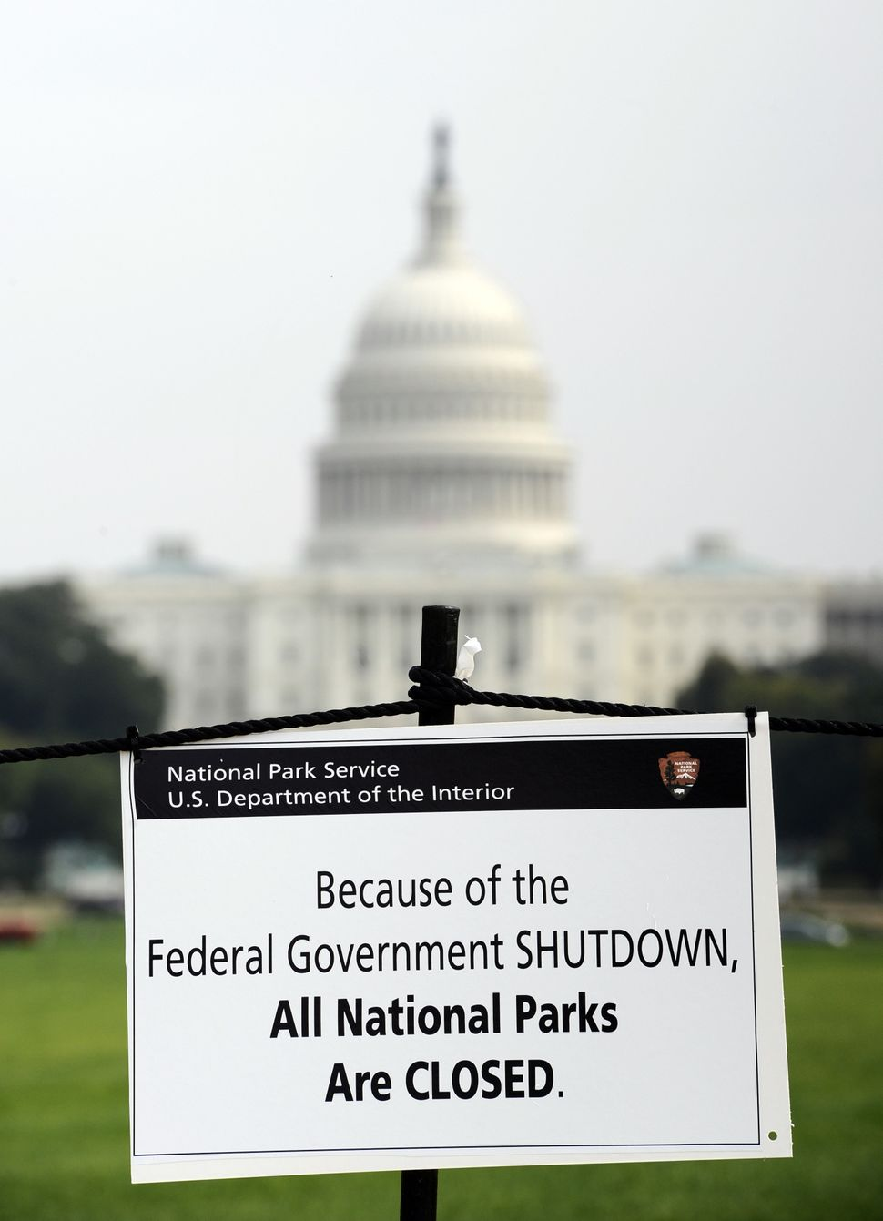 Shutdown Washington, D.C. 10.03.13  A closure sign is posted on the National Mall near the U.S. Capitol on the third day of t