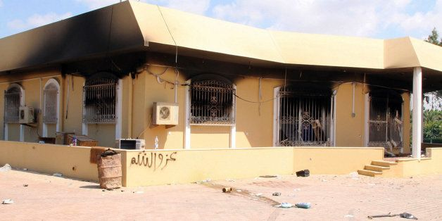 A burnt building is seen inside the US Embassy compound on September 12, 2012  in Benghazi, Libya, following an overnight att