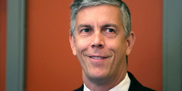 WASHINGTON, DC - AUGUST 27:    U.S. Education Secretary Arne Duncan waits to be introduced prior to speaking to students at S
