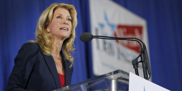In front of a cheering crowd, Wendy Davis formally announces her run to be Texas' next governor on Thursday, October 3, 2013,