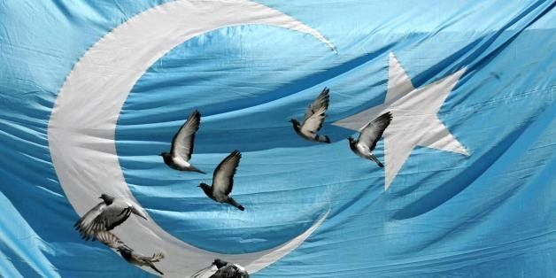 Pigeons fly over a flag of East Turkestan as Turks pray during funeral prayers for Uighur victims who were killed in China?s