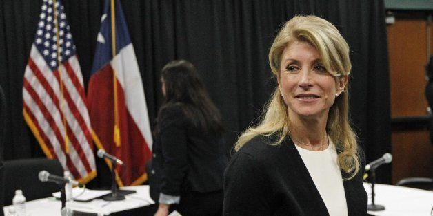 Texas state Sen. Wendy Davis, a candidate for Texas governor, attends an education roundtable in Arlington, Texas, on Thursda