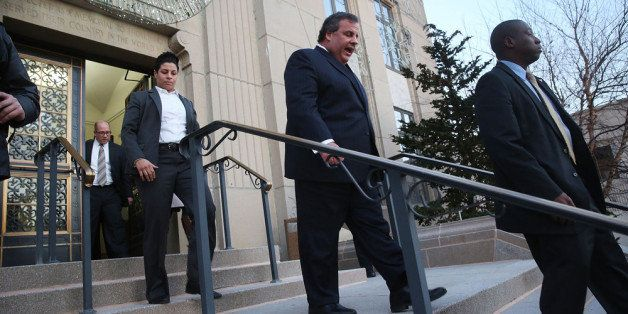 FORT LEE, NJ - JANUARY 09:  New Jersey Gov. Chris Christie leaves the Borough Hall in Fort Lee where he apologized to Mayor M