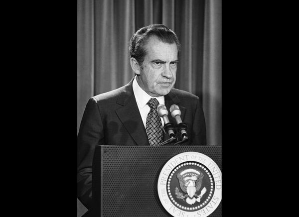 Six months before resigning from office in disgrace, President Richard Nixon called on Congress to end the Watergate investig