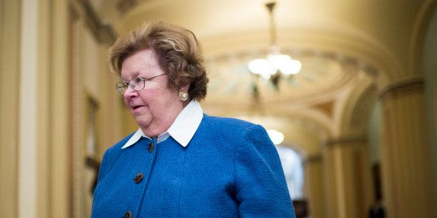 UNITED STATES - OCTOBER 8: Sen. Barbara Mikulski, D-Md., arrives for the Senate Democrats' policy lunch in the Capitol on Tue