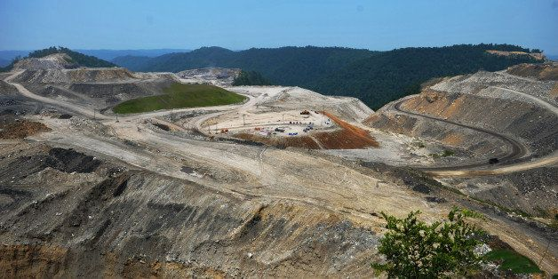 A June 12, 2008 general view shows a coal mine on top of Kayford Mountain in West Virginia. The mountain top has been demolis