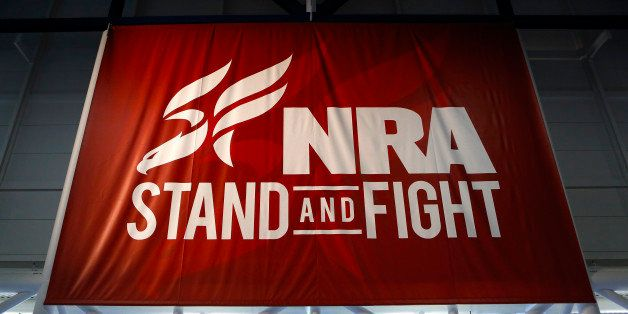 A National Rifle Association (NRA) banner is displayed during the organization's Annual Meetings & Exhibits at the George R.
