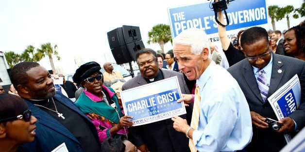 ST. PETERSBURG, FL -  NOVEMBER 4:  Former Florida Gov. Charlie Crist speaks with supporters after announcing that he will run