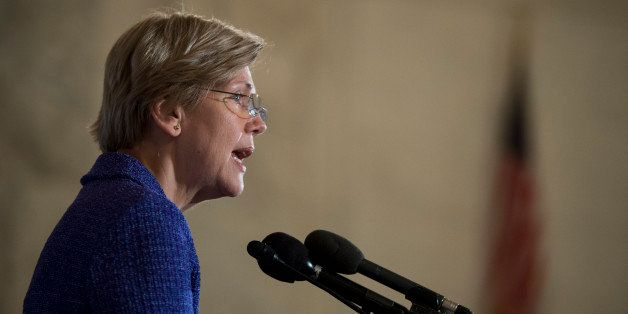 UNITED STATES - NOVEMBER 5: Sen. Elizabeth Warren, D-Mass., delivers the keynote speech during the event to release a new rep