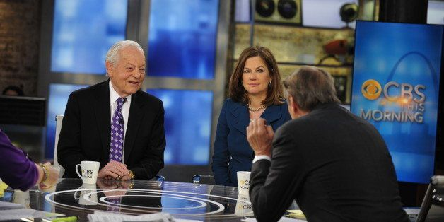 NEW YORK - JANUARY 23: Bob Schieffer, Chief Washington Correspondent and Anchor of Face the Nation, and Jan Crawford, CBS New