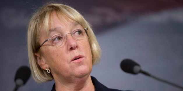 Senator Patty Murray, a Democrat from Washington, speaks during a news conference with Representative Paul Ryan, a Republican