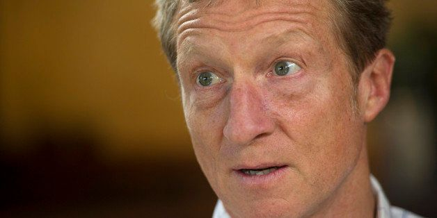 Thomas 'Tom' Steyer, founder of Farallon Capital Management LLC, speaks during a Bloomberg Television interview in Pescadero,
