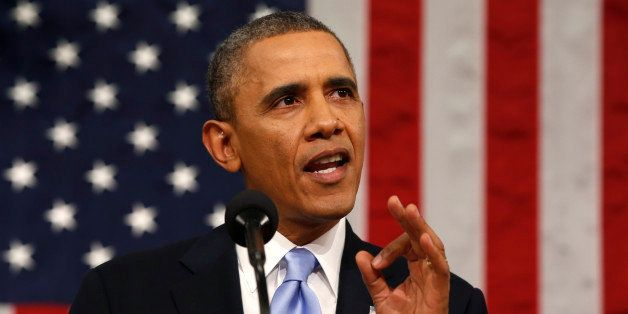 US President Barack Obama delivers the State of the Union address at the US Capitol in Washington on  January 28, 2014.
