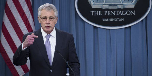 US Secretary of Defense Chuck Hagel speaks during a press conference following meetings with French Minister of Defense Jean-
